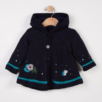 CATIMINI EMBROIDERED KNITTED COAT WITH HOOD