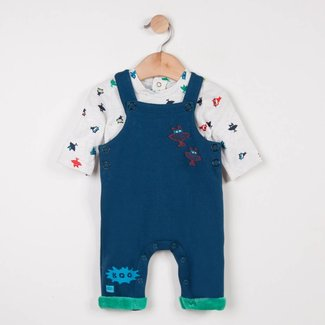 FLEECE DUNGAREES + T-SHIRT PRINTED WITH MONSTERS