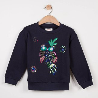 FLEECE SWEATER WITH A BIRD MOTIF WITH BEADS AND SEQUINS