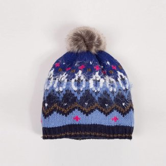 CATIMINI FLUFFY JACQUARD KNITTED HAT WITH POMPOM