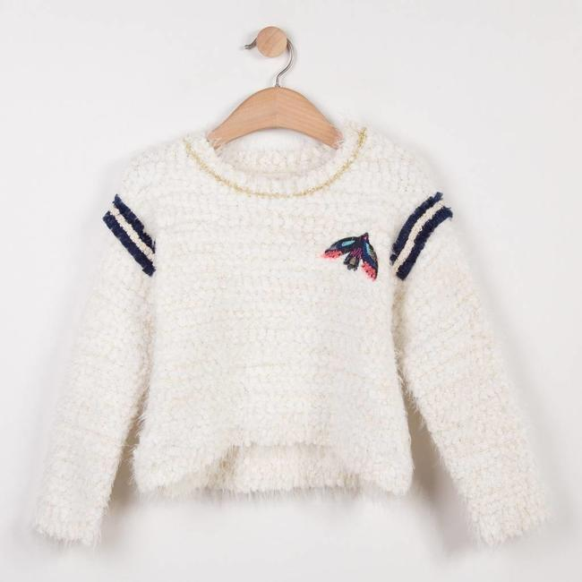 FLUFFY KNIT SWEATER WITH BIRD