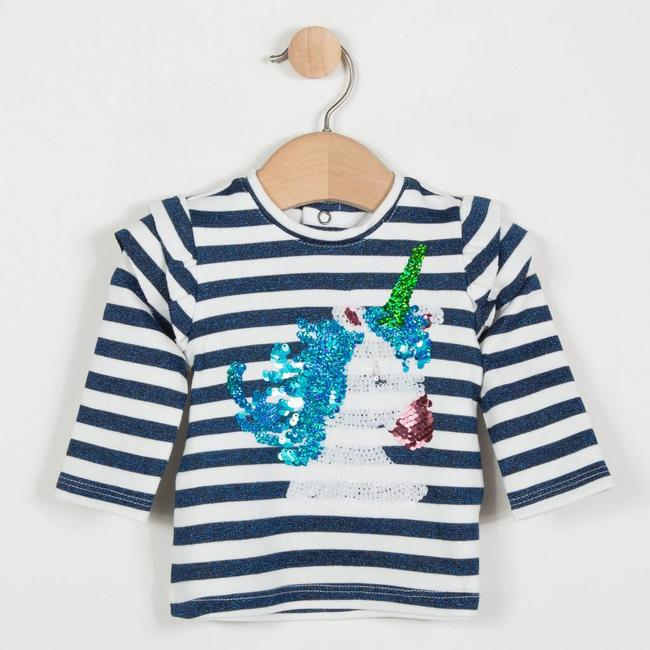 INTERLOCK SWEATER WITH GLITTER STRIPE AND UNICORN