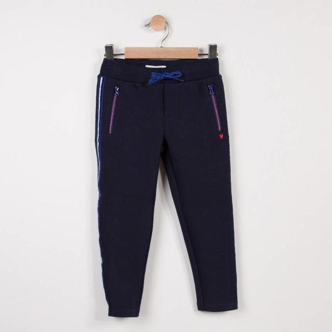 JOGGING PANTS IN NAVY DOUBLE-SIDED INTERLOCK JERSEY