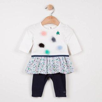 CATIMINI KNITTED DRESS WITH POMPOMS + PLAIN LEGGINGS