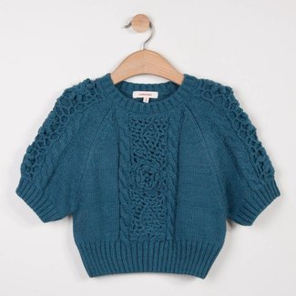 KNITTED SWEATER WITH CROCHET FLOWERS