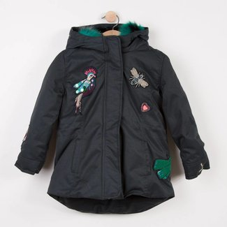 LONG PARKA IN PATTERNED COATED CANVAS, WITH FUR HOOD