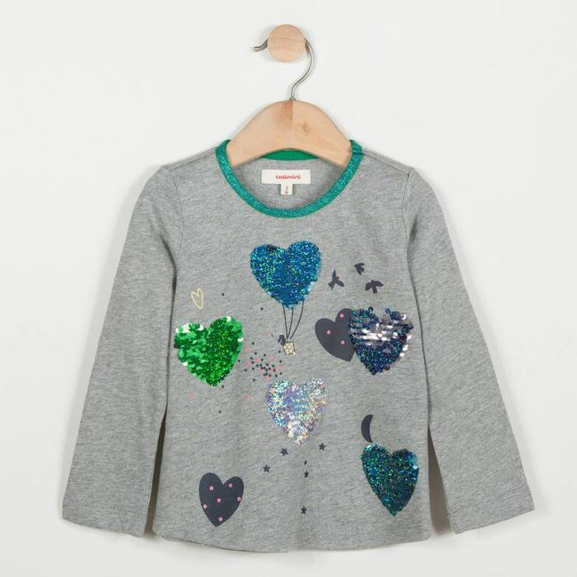 MARL GLITTER T-SHIRT WITH MAGIC HEART SEQUINS