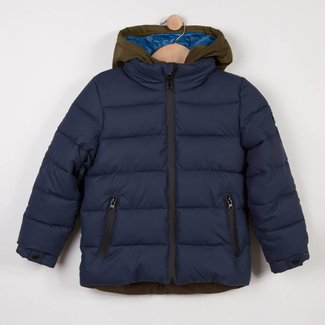 MIDNIGHT BLUE COATED CANVAS QUILTED JACKET