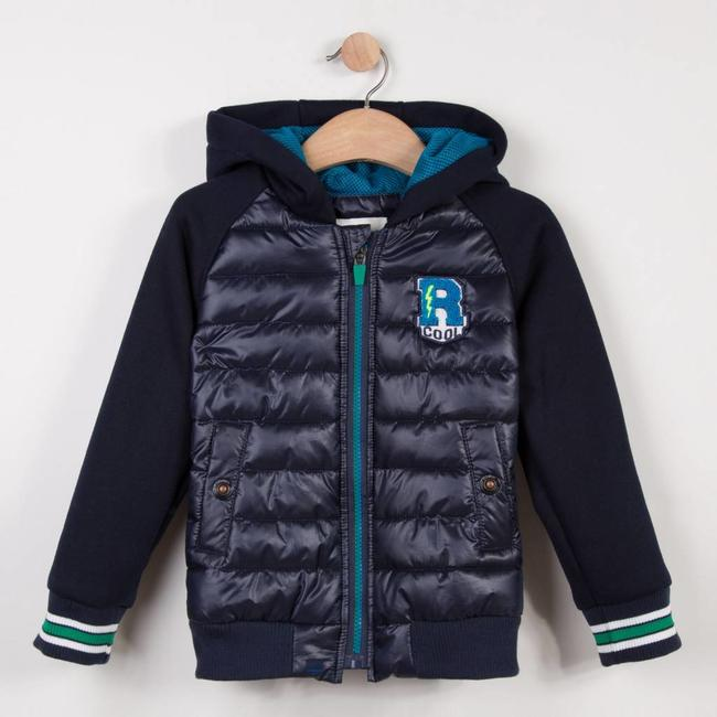 MIDNIGHT BLUE FLEECE JACKET IN TWO MATERIALS WITH HOOD