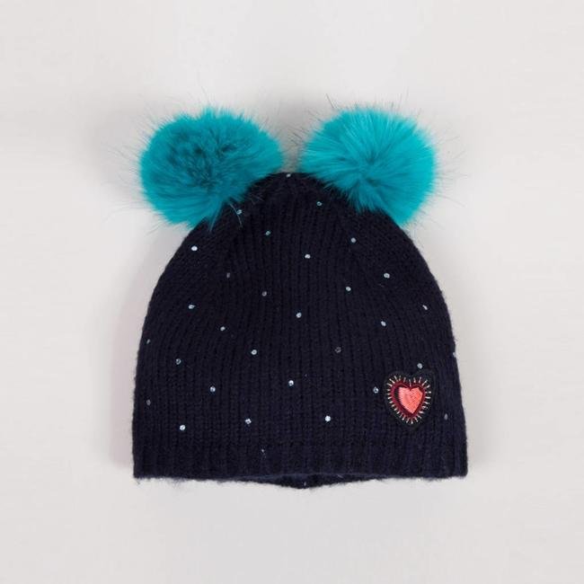 MOHAIR KNIT HAT, POMPOMS AND SHINY SPOTS