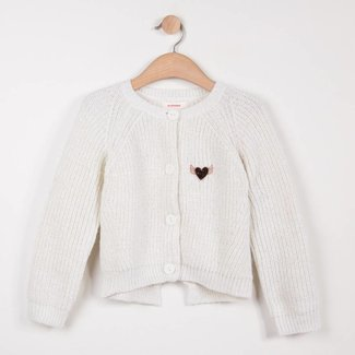 OFF-WHITE SPARKLING KNIT CARDIGAN WITH BOW DETAIL