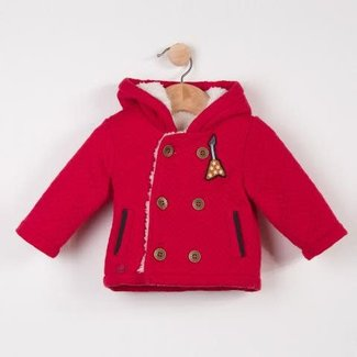 PADDED JACKET IN RED QUILTED TUBULAR KNIT