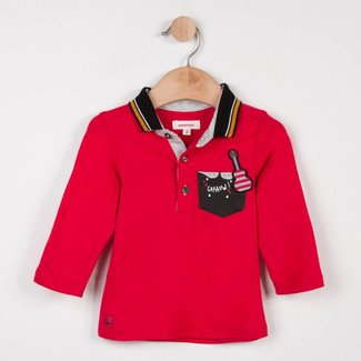 RED JERSEY POLO SHIRT WITH ROCK PATTERN
