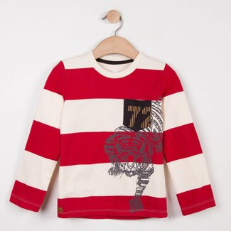 RED STRIPED JERSEY SAILOR T-SHIRT WITH MOTIF