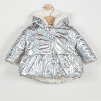 REVERSIBLE COAT WITH GLITTERING CANVAS AND FUR