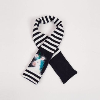 STRIPED AND UNICORN KNIT SCARF