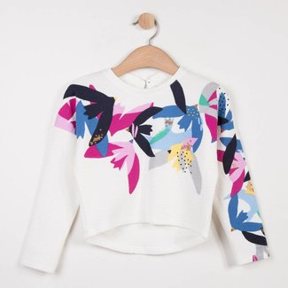 TEXTURED TUBULAR KNIT SWEATER WITH BIRD MOTIFS
