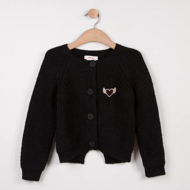 BLACK SPARKLING KNIT JACKET WITH BOW DETAIL