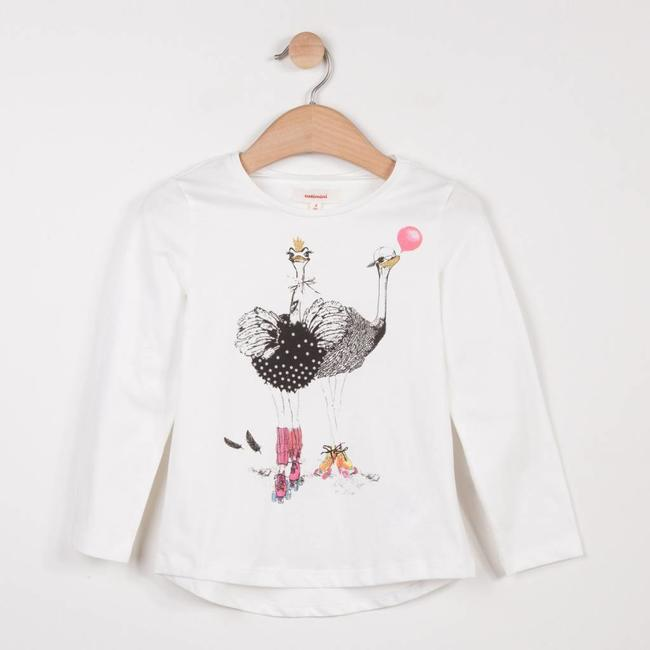 WHITE T-SHIRT WITH OSTRICH PATTERN