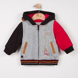 ZIPPED CARDIGAN IN COLOURED FLEECE
