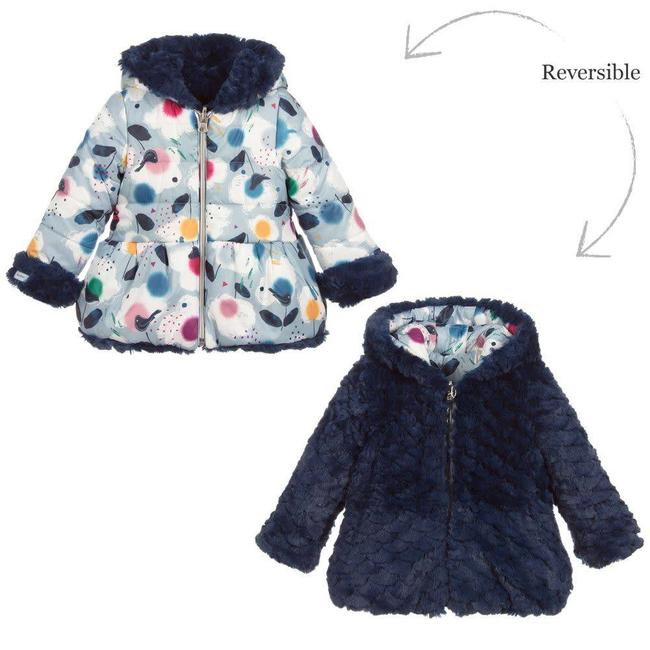 CATIMINI REVERSIBLE PARKA WITH CHARMING PRINT AND FANCY FUR