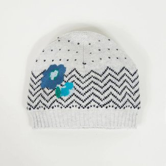 CATIMINI GRAPHIC KNIT HAT WITH FLOWERS