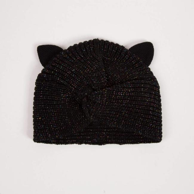 e597c0ef906 GLITTER KNOTTED HAT WITH CAT EARS