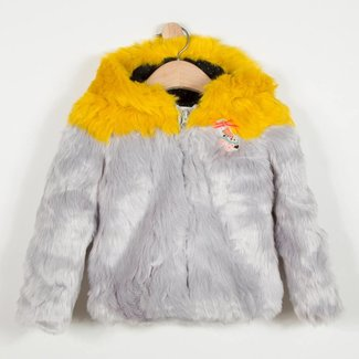TWO-TONE FAUX FUR COAT