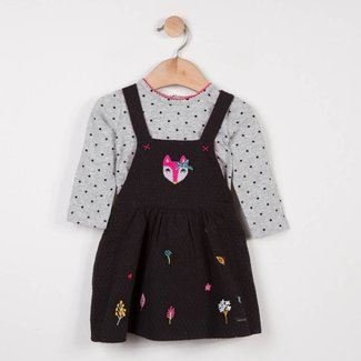 CATIMINI PINAFORE DRESS + PRINTED T-SHIRT