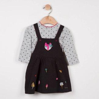 PINAFORE DRESS + PRINTED T-SHIRT