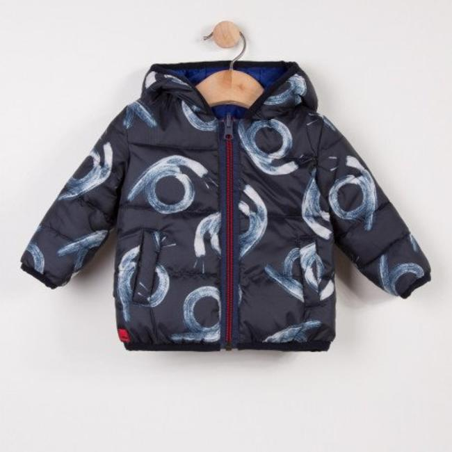 BLUE AND PRINTED REVERSIBLE PUFFA JACKET