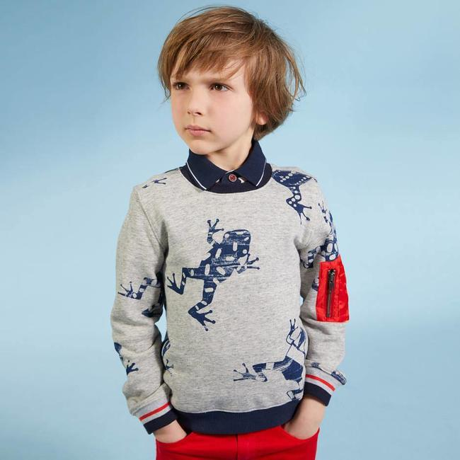 PRINTED MARL FLEECE SWEATER