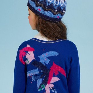 REVERSIBLE MARL CARDIGAN WITH BIRD DESIGN