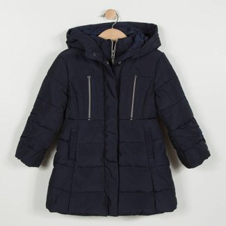MIDNIGHT BLUE QUILTED COAT WITH HOOD