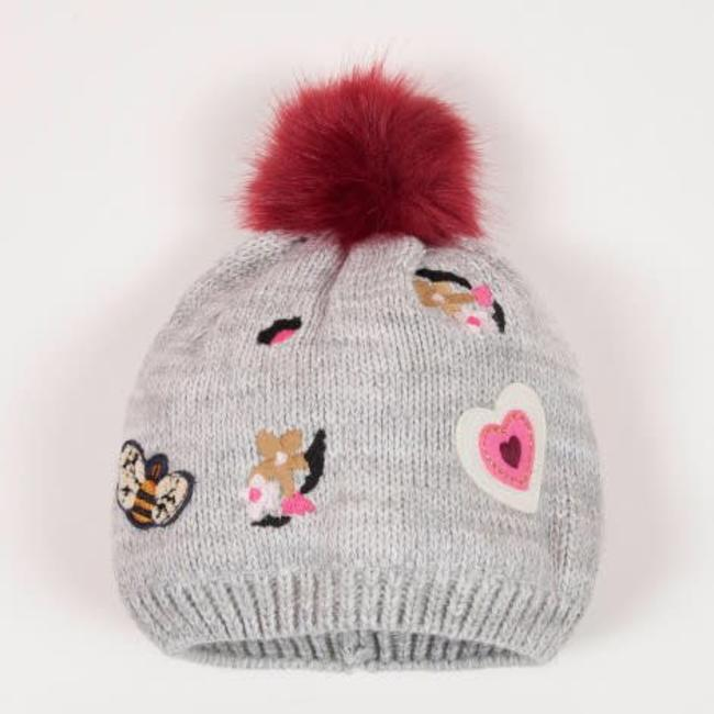 GRAPHIC KNIT HAT WITH FLOWERS PATTERN