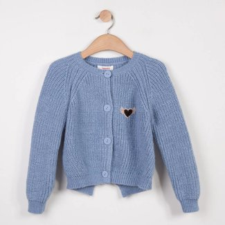 GLACIER BLUE SPARKLING KNIT CARDIGAN WITH BOW DETAIL