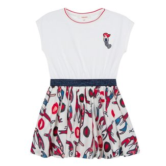 DRESS IN TWO MATERIALS, JERSEY AND VOILE WITH A LOBSTER PRINT