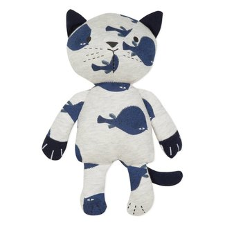 CUDDLY TOY CAT IN JERSEY WITH FISH MOTIF