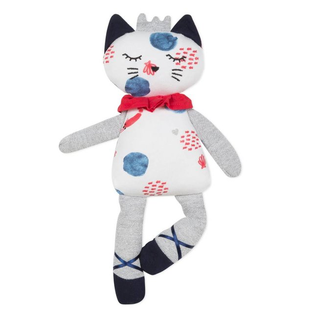CUDDLY TOY CAT IN JERSEY WITH MARINE MOTIF