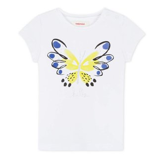 CATIMINI WHITE T-SHIRT WITH GLITTERY BUTTERFLY DESIGN