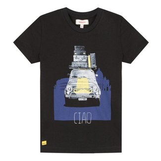 BLACK T-SHIRT WITH RETRO DESIGN