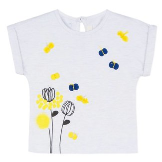 FLECKED GLITTERY T-SHIRT WITH MIMOSA PATTERN