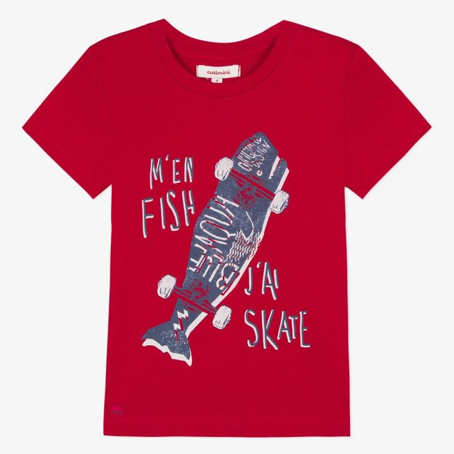 T-SHIRT WITH PLAYFUL RED MARINE MOTIF