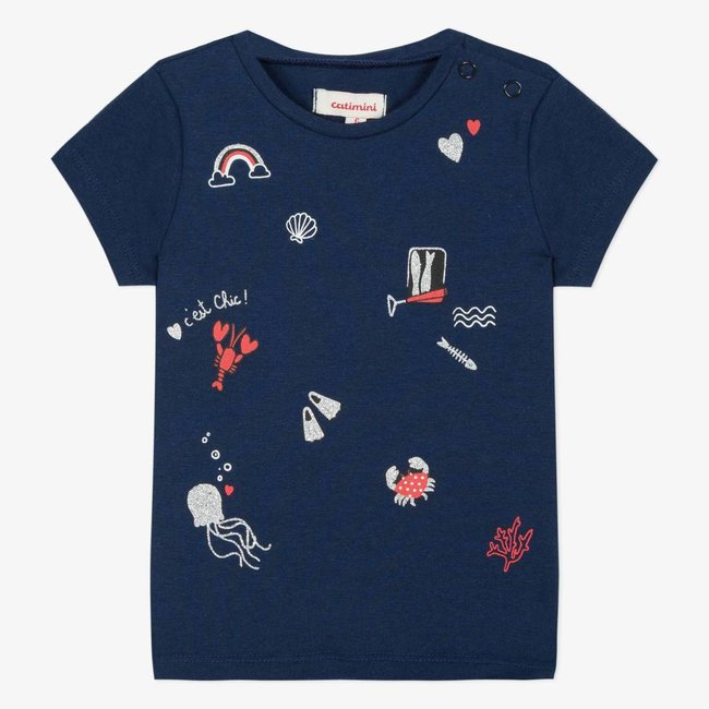 CATIMINI NAVY BLUE T-SHIRT WITH MARINE IMAGE