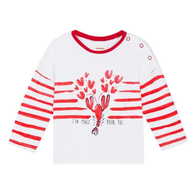 CATIMINI T-SHIRT WITH STRIPES AND CRUSTACEAN MOTIF