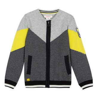 ZIPPED COLOUR BLOCK CARDIGAN