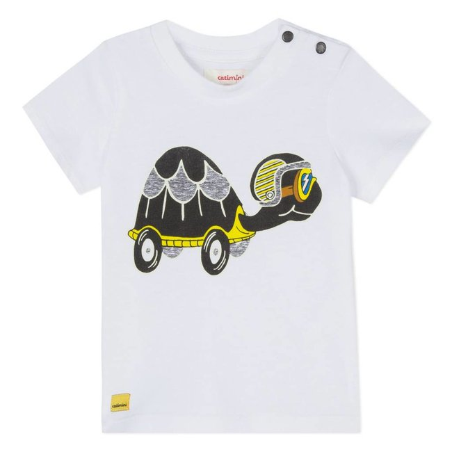 WHITE T-SHIRT WITH GLOW-IN-THE-DARK TORTOISE DESIGN