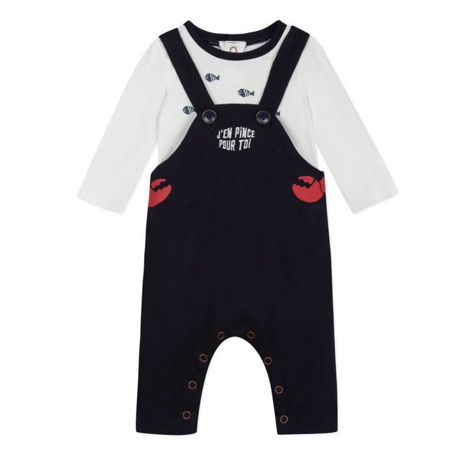 T-SHIRT WITH MARINE MOTIFS AND KNIT DUNGAREES