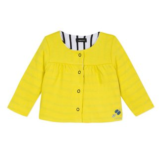 STRIPED/YELLOW REVERSIBLE JERSEY CARDIGAN