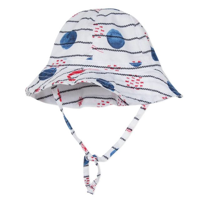 STRIPED VOILE SUN HAT WITH MARINE PRINT